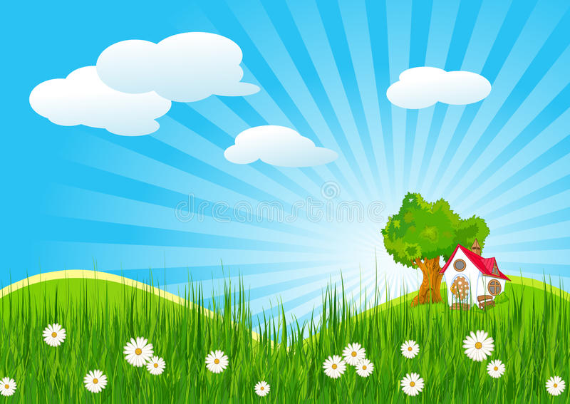 Summer landscape with little house stock illustration