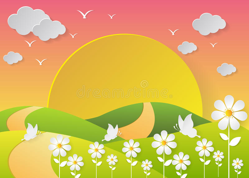 Summer landscape with meadows and flowers vector illustration