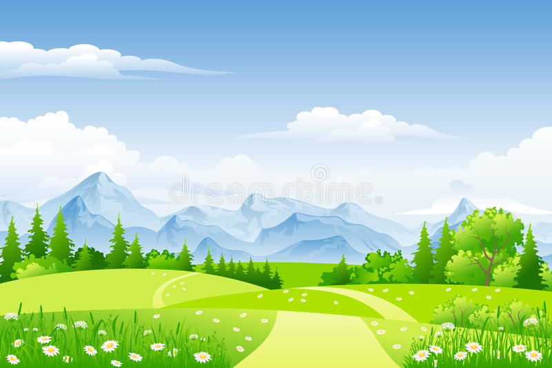 Summer landscape with meadows royalty free illustration
