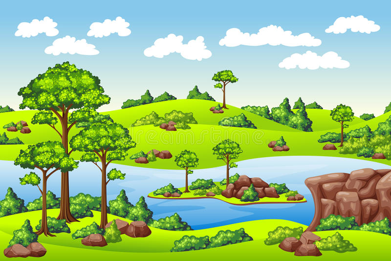 Summer landscape with meadows vector illustration