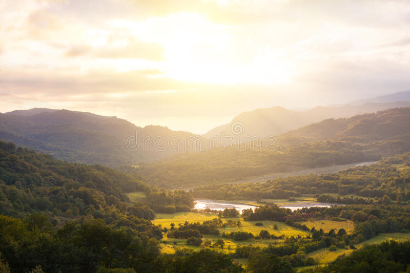 Summer landscape in the mountains. Sunrise royalty free stock photos