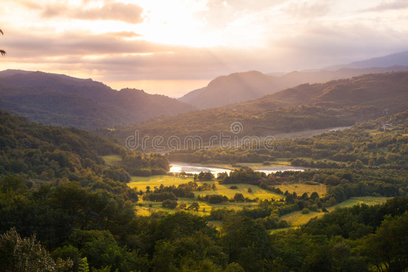 Summer landscape in the mountains. Sunrise royalty free stock photography