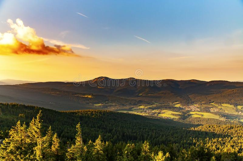 Summer landscape in National park Bayerische Wald,view from the  mountain Grosser Osser in National park  Bavarian forest, Germany stock images