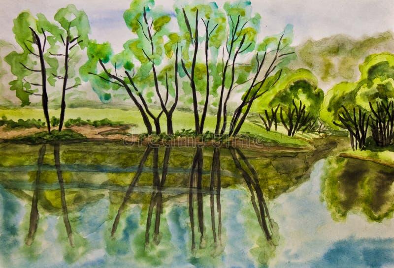 Download Summer landscape, painting stock illustration. Image of river - 23414625