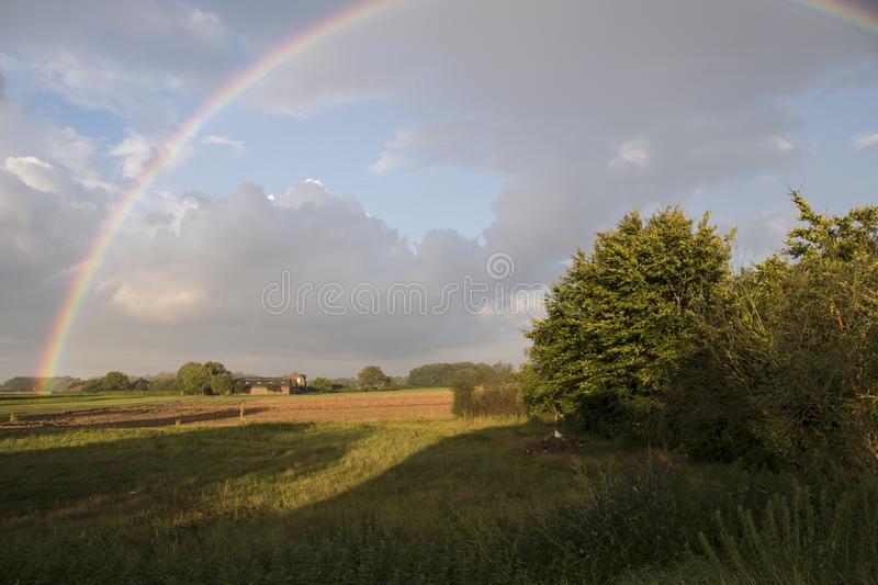 Summer landscape with rainbow, sky and corn fields. Pan royalty free stock images