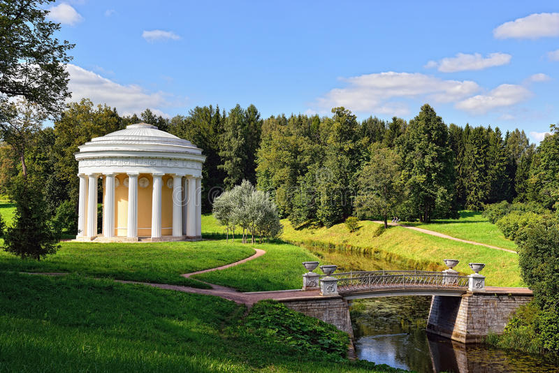 Summer landscape of the Pavlovsk garden. Temple of Friendship stock image