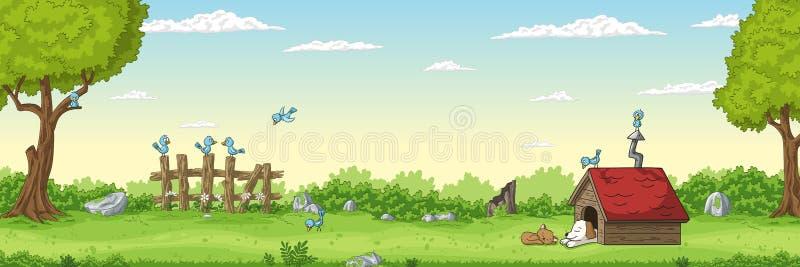 Summer Landscape With Peets vector illustration
