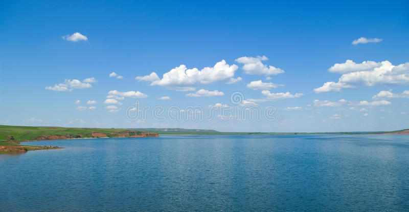 Summer landscape with quiet water of lake stock photo
