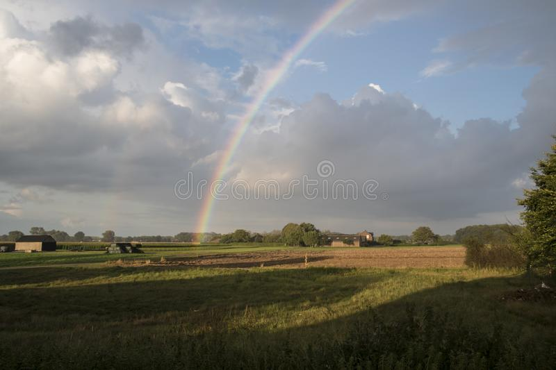 Summer landscape with rainbow, sky and corn fields. Pan royalty free stock photo
