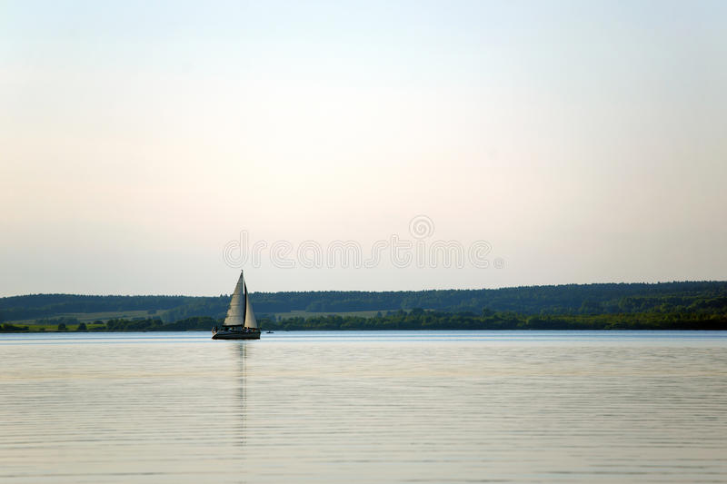 Download Summer Landscape With A River And Boat Stock Image - Image: 34366047