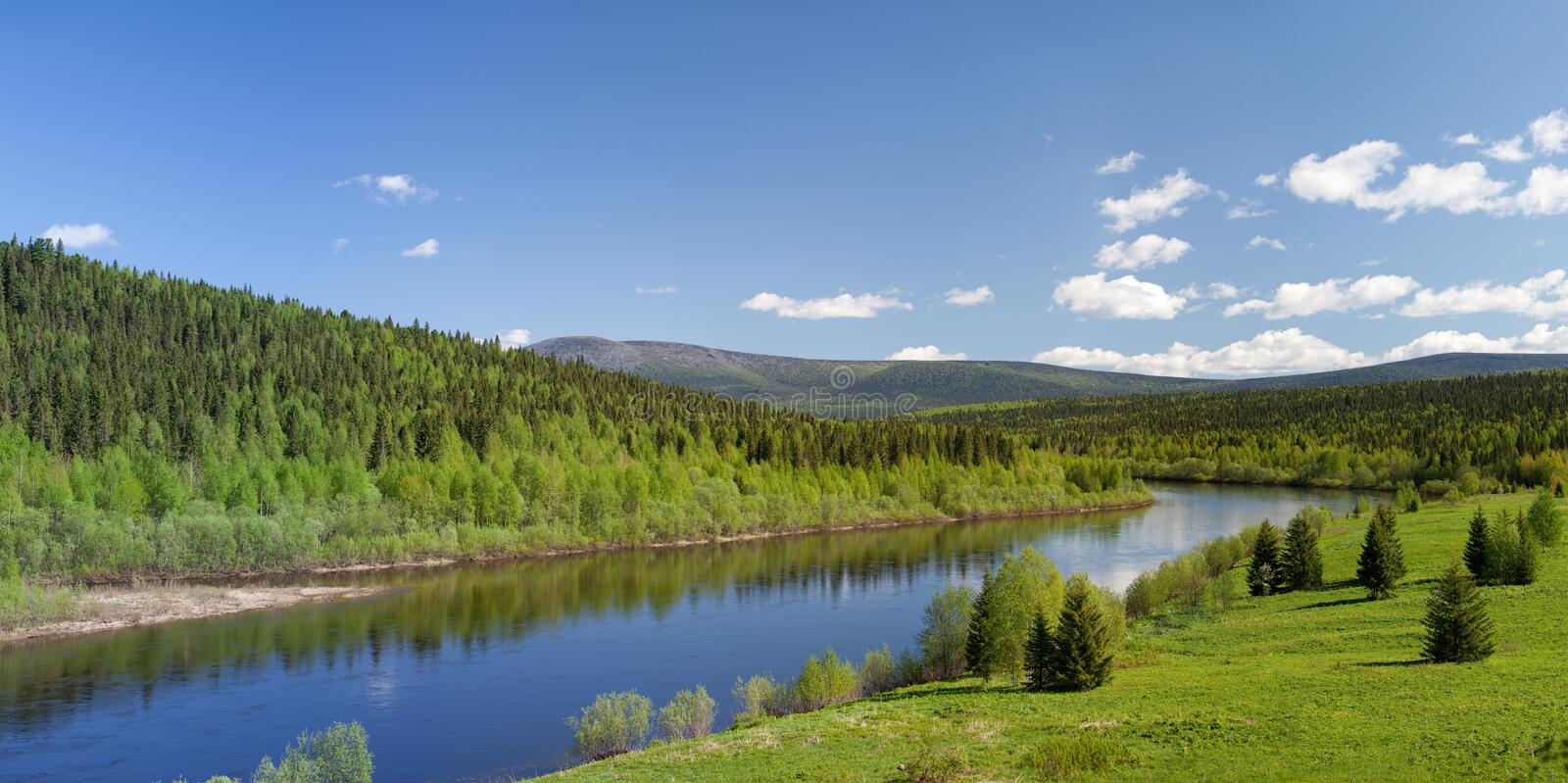 Summer landscape. River Vishera. Ural mountains. Panorama stock image