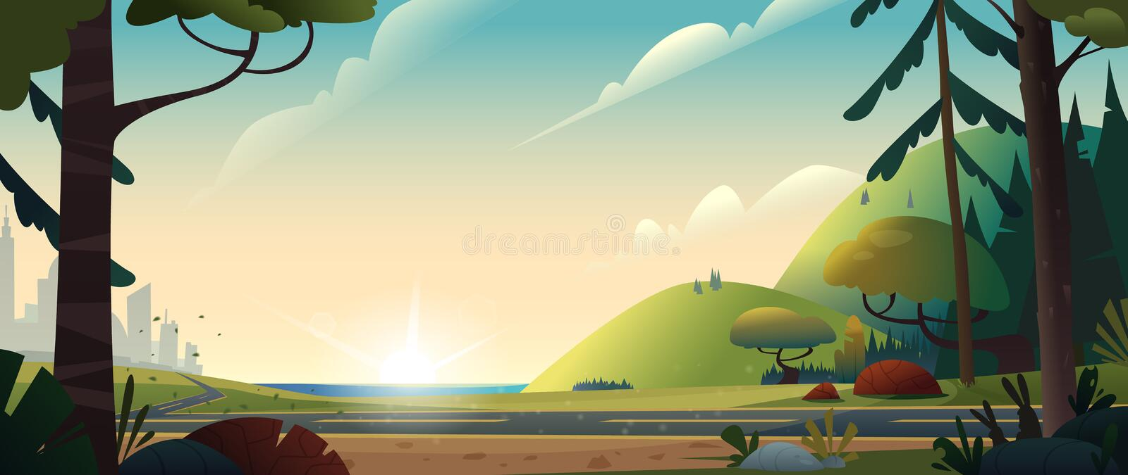Summer landscape. The road from the city to the forest or countryside. Cinematic view. Cartoon style vector illustration. royalty free illustration