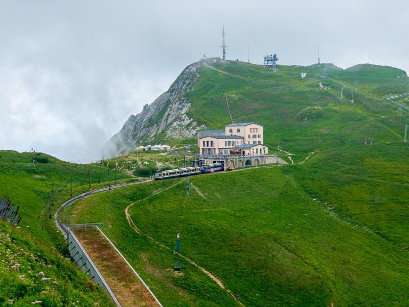 Summer landscape of Rochers-de-Naye train station. In Switzerland royalty free stock images