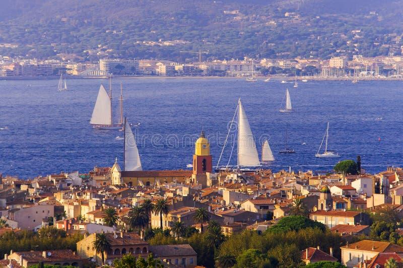 Summer landscape of Saint Tropez cityscape stock image