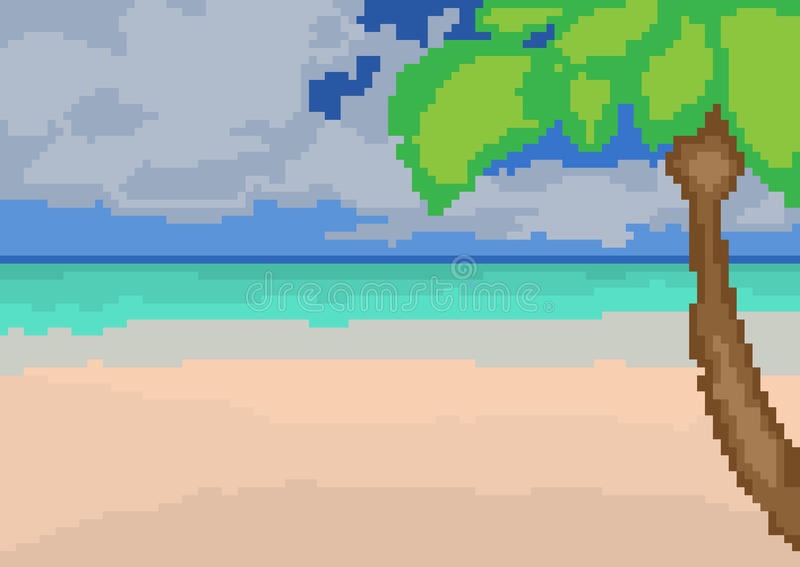 Summer landscape with the sea, palm trees and sand in pixel style. royalty free illustration