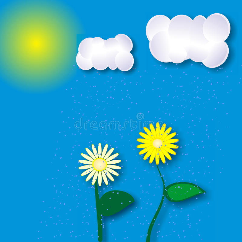 Summer landscape with sun, clouds and flowers. Morning sun, yellow flowers, blue cloud, summer rain. EPS 10 royalty free illustration