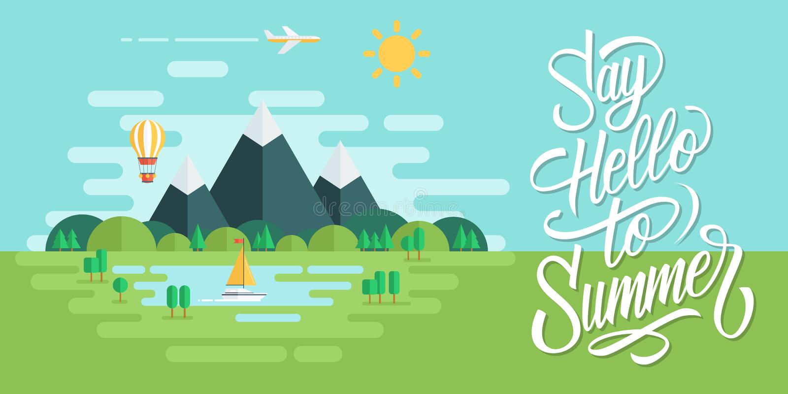 Summer landscape with sun, mountains, clouds, hot air balloon, airplane, yacht and handwritten inscription Say Hello To Summer. stock illustration