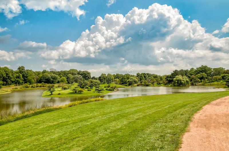 Summer Landscape on sunny day of Japanese Island in Chicago Botanic Garden. stock photo