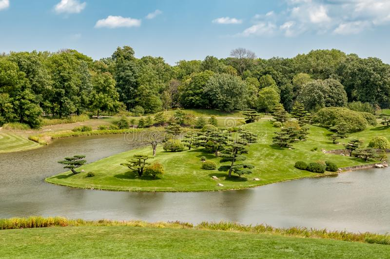 Summer Landscape on sunny day of Japanese Island in Chicago Botanic Garden. royalty free stock photography