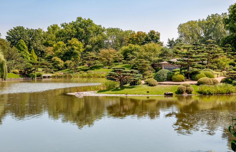 Summer Landscape on sunny day of Japanese Island in Chicago Botanic Garden. royalty free stock images