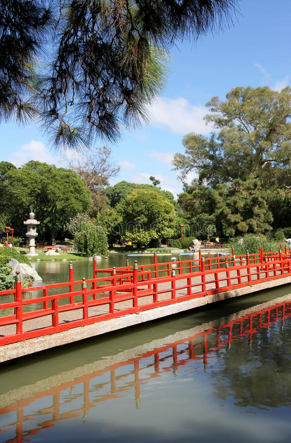 Traditional Japanese garden. Summer landscape. Summer landscape in a traditional Japanese garden with the beautiful nature and architecture in east style stock photo