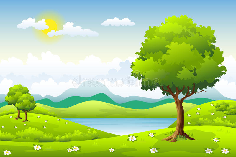 Summer landscape with trees vector illustration