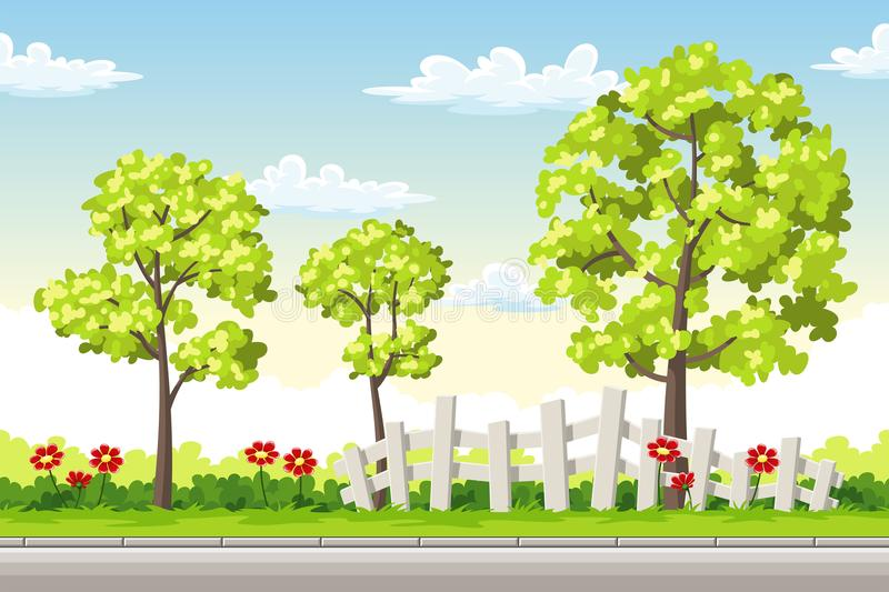 Summer landscape with trees and flowers stock illustration