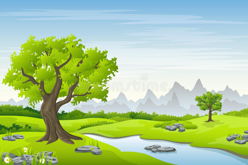Summer landscape with trees royalty free illustration