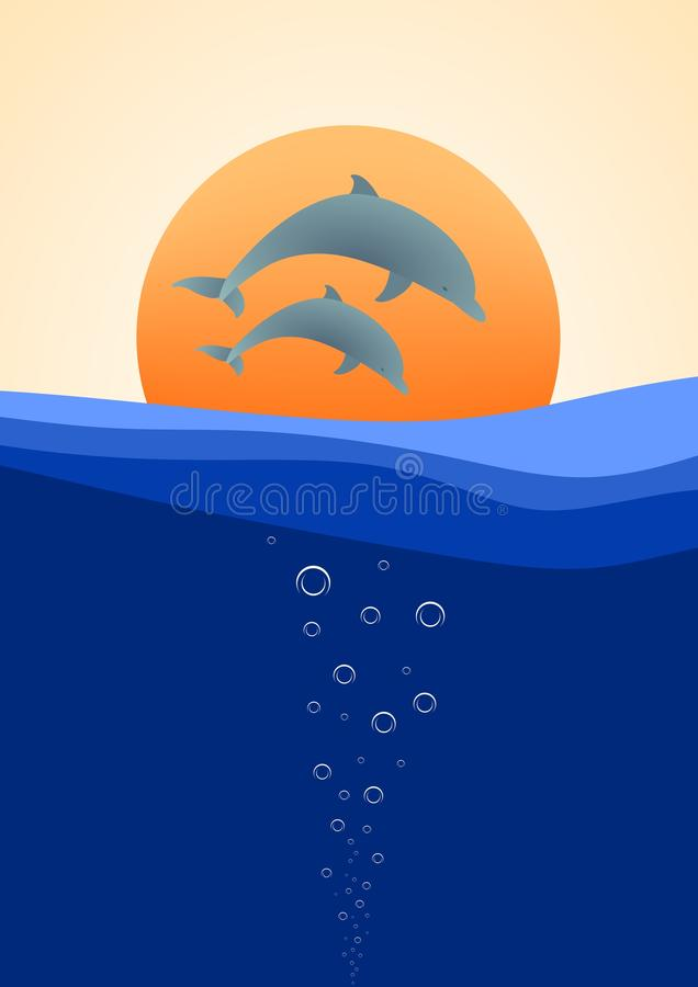 Summer landscape with two dolphins jumping above the water in the background with a sunset orange sun royalty free illustration