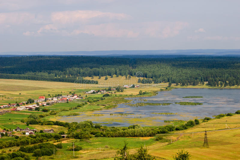 Summer landscape, view from the mountain. stock photography