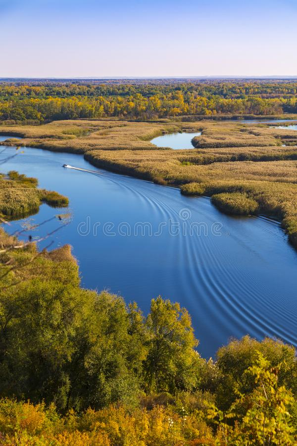 Summer landscape: Vorskla river . Top view. Ukraine. Europe royalty free stock photos