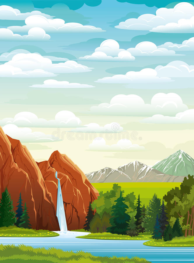 Download Summer Landscape With Waterfall Stock Illustration - Image: 26428601
