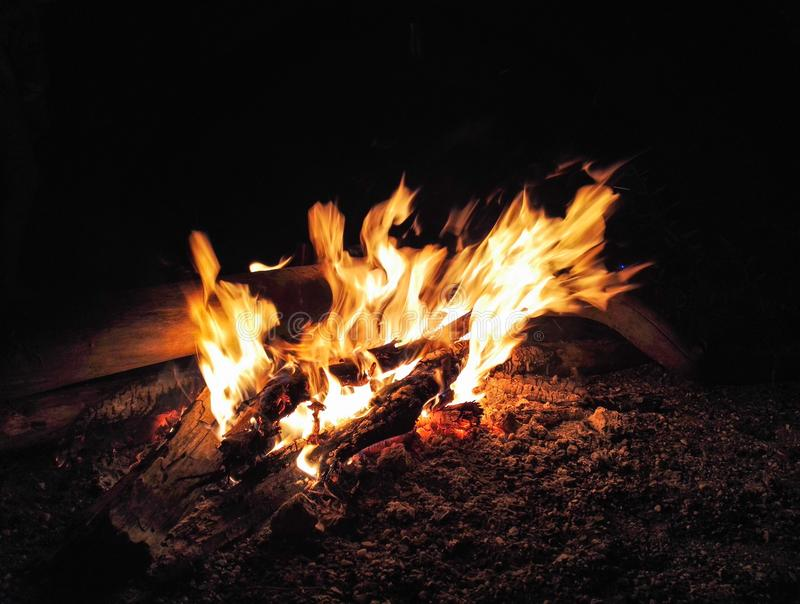Summer large high bonfire long exposure fire royalty free stock photos