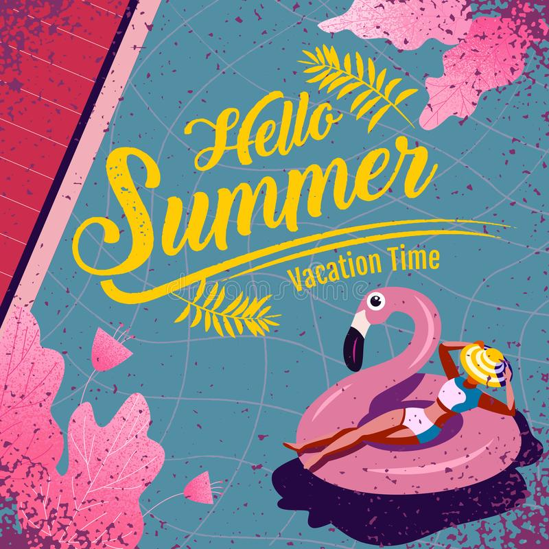 Summer , layout template design, Holiday, Vacation, banner, texture, colorful, vector illustration royalty free illustration