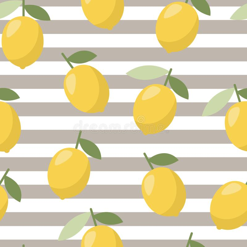 Summer lemon pattern, design for any web, print. Vector line royalty free illustration