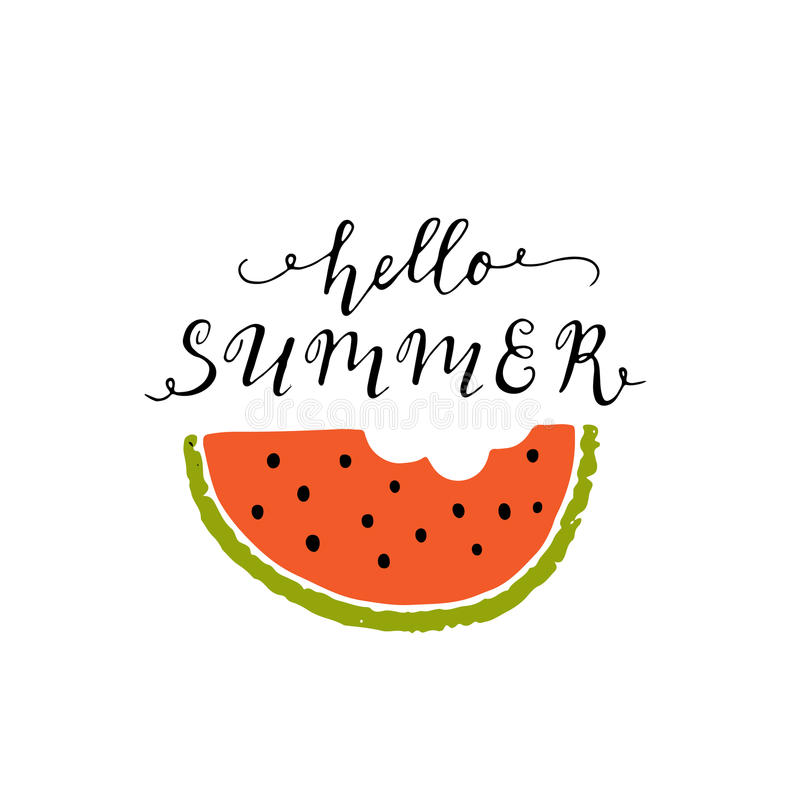 Summer lettering and watermelon vector illustration