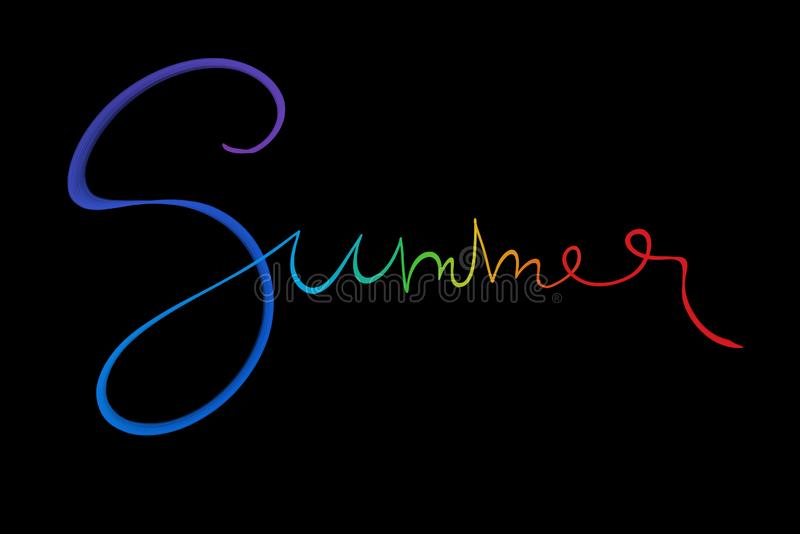 Summer lettering word written with white smoke or flame light in rainbow color isolated on black background.  royalty free stock image