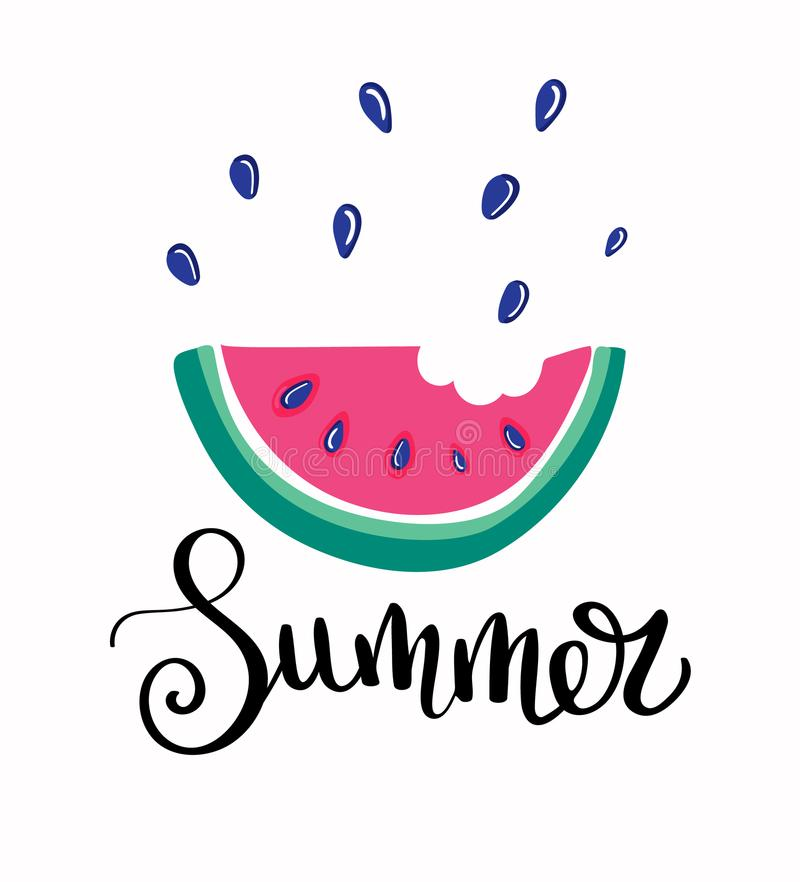 Fresh Ice Cream Stick In Summer Wallpaper Vector: Summer Letting Handwriting Quote And Watermelon Ice Cream