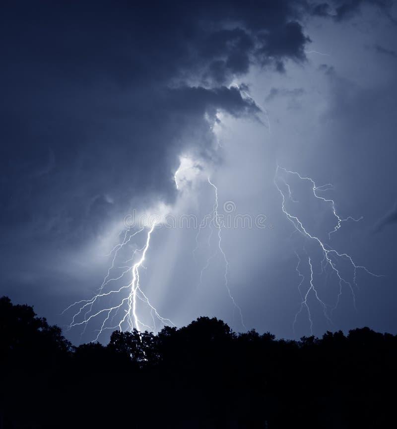 Summer lightning strike stock image