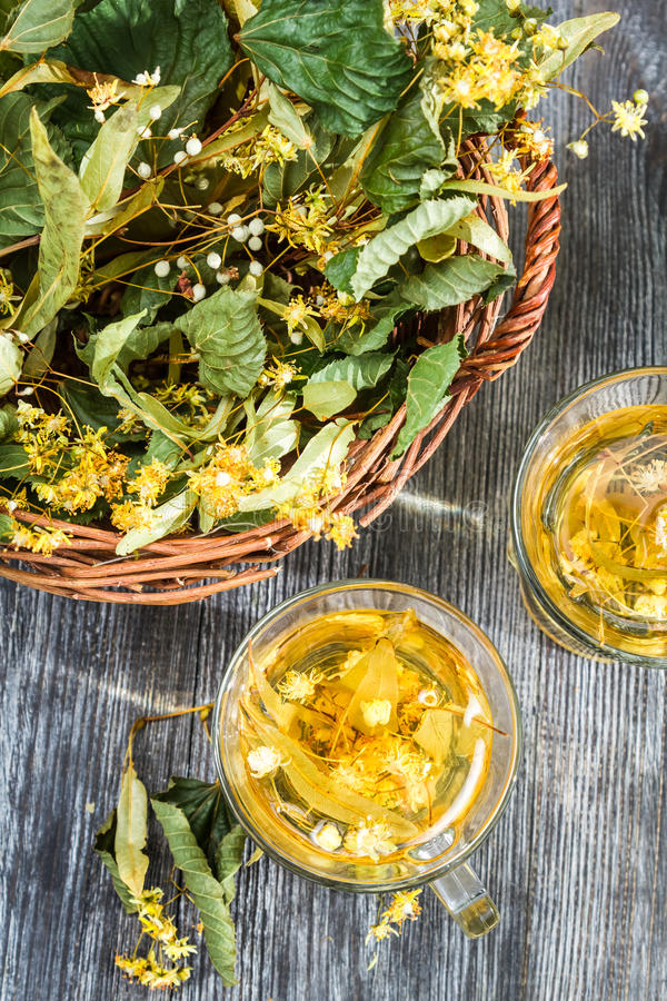 Summer lime tea served in the garden stock photo
