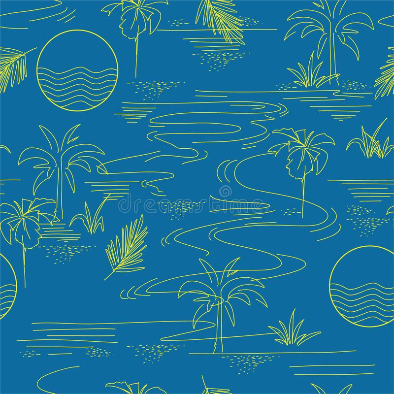 Summer line modern minimal island tropical mood seamless pattern on vector design for fashion,fabric,web,wallpaper, and all prints. On summer bright blue stock illustration