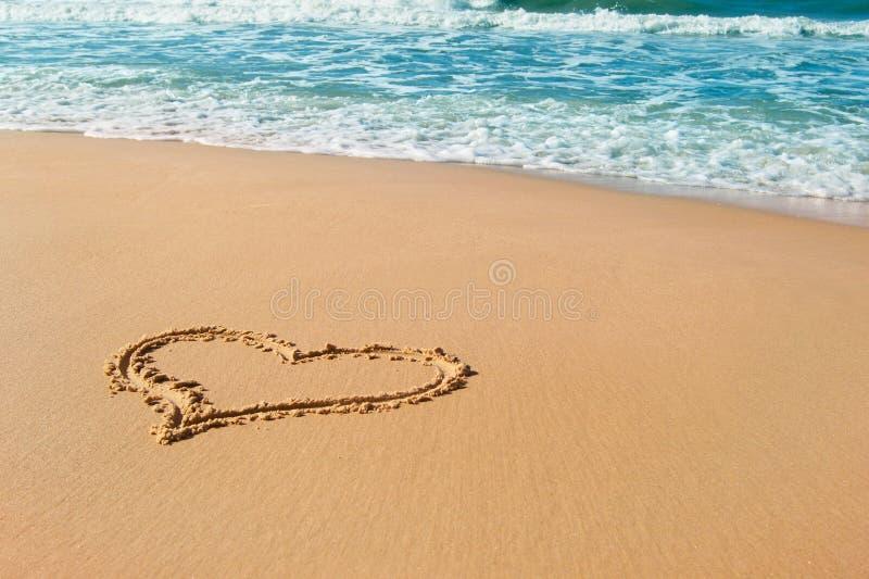 Summer Love. Heart drawn on beach sand, summer love royalty free stock photography