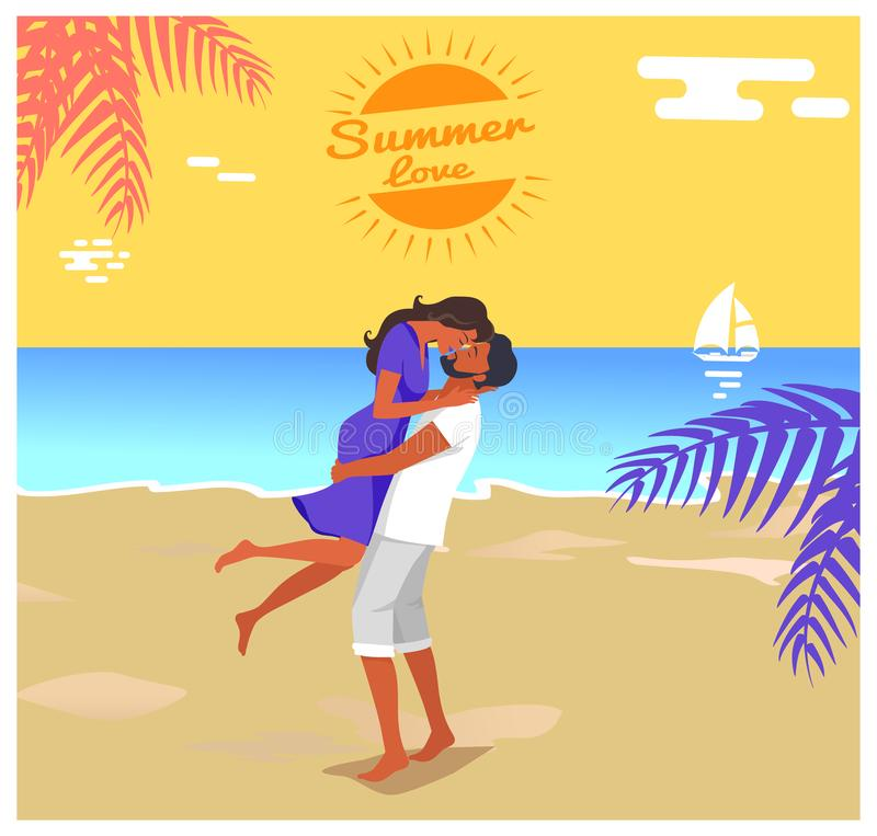 Man Lifts his Girlfriend and Kisses Illustration. Summer love poster man with beard in shorts lifts his girlfriend in dress and kisses on seaside under palm tree royalty free illustration