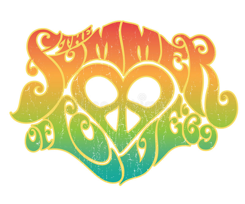 Summer of Love. 60's style typography image