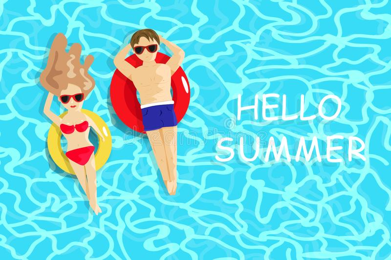 Summer, Man and lady relaxing on swimming pool, seasonal holiday vacation, people lifestyle background vector illustration vector illustration