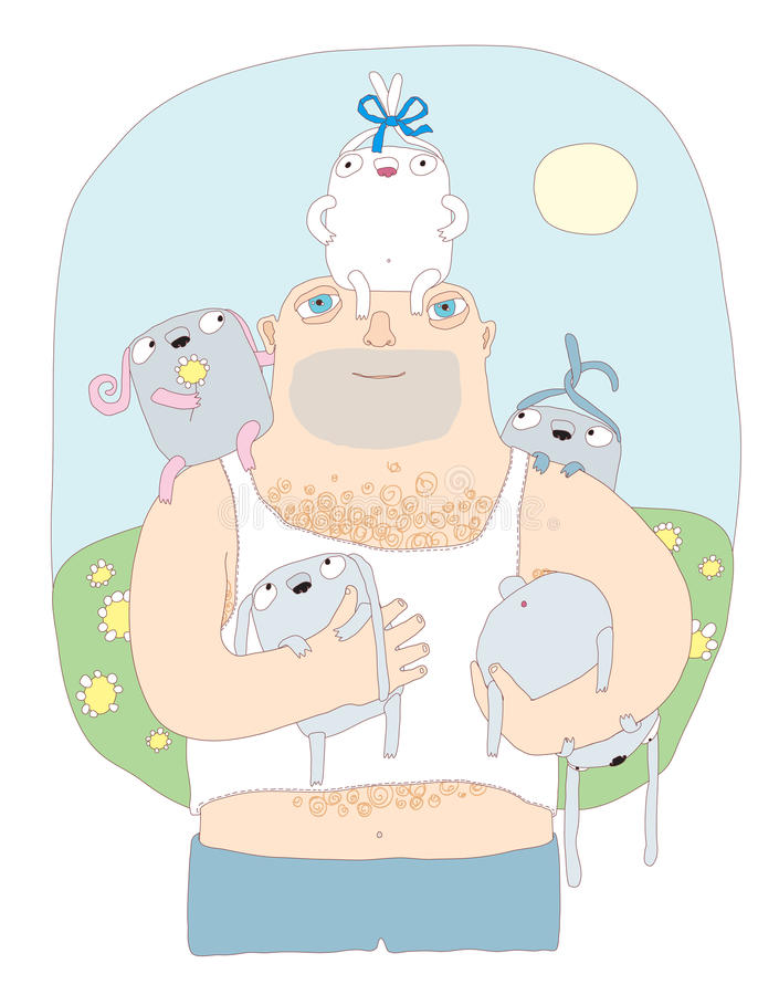 Download Summer man with rabbits stock illustration. Image of blue - 11092182