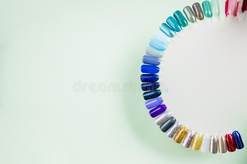 Summer Manicure And Nail Color Samples  Stock Photo - Image