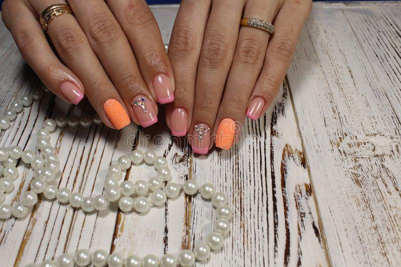 Summer manicure and nail color samples. royalty free stock photos