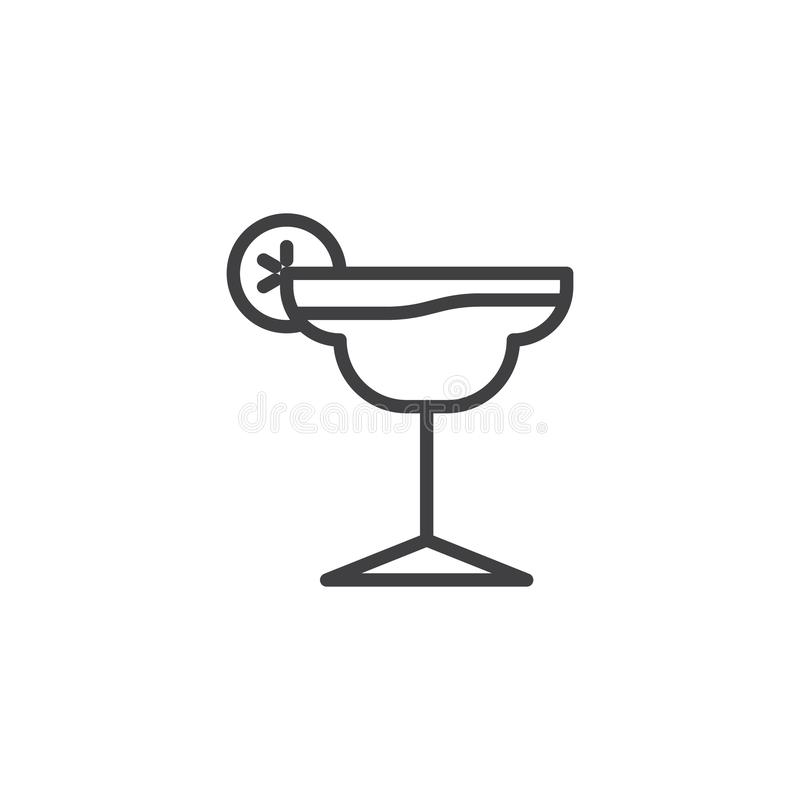 Summer Margarita Cocktail line icon royalty free illustration