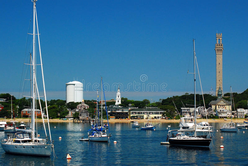Summer at the marina. A Summer Day In Provincetown, Cape Cod, Massachusetts royalty free stock image